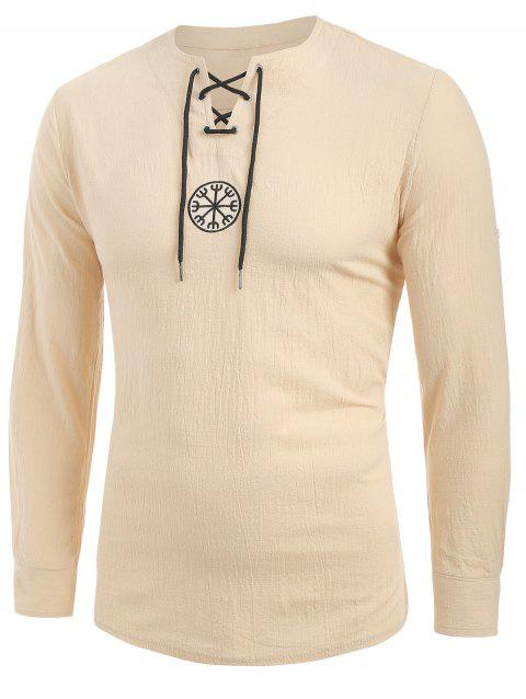 Lace-up Decoration Long Sleeves T-shirt - GOLDENROD XL