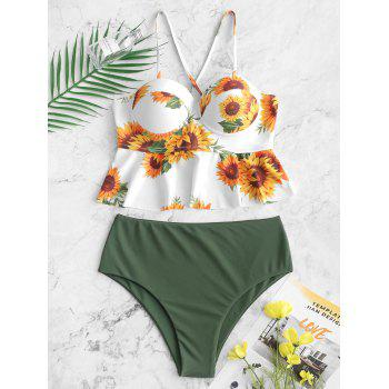 Sunflower Crisscross Underwire Peplum Tankini Swimsuit