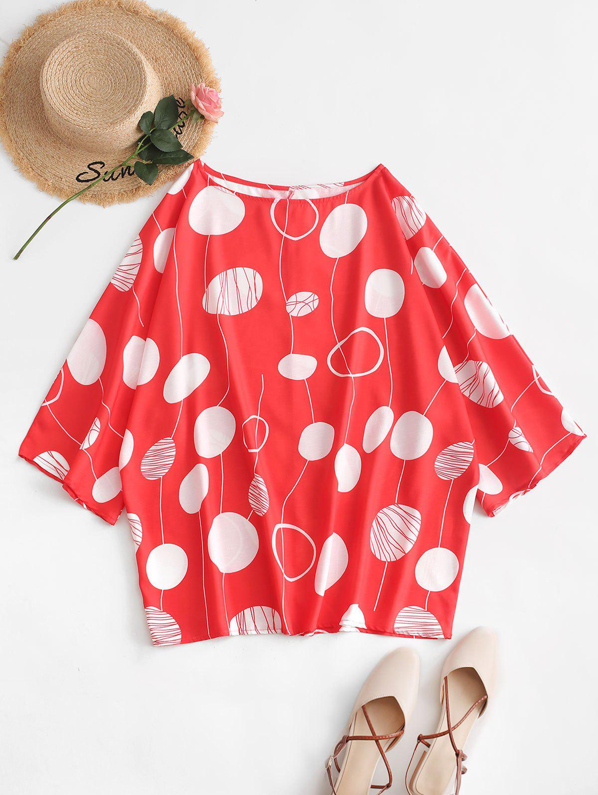 Plus Size Polka Dot Batwing Sleeve Blouse - BEAN RED 2X
