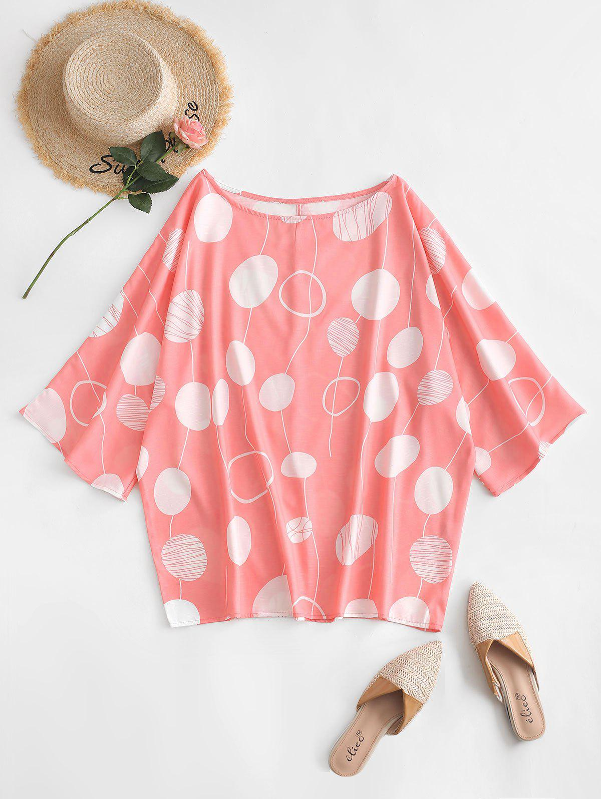 Plus Size Polka Dot Batwing Sleeve Blouse - DEEP PEACH 5X