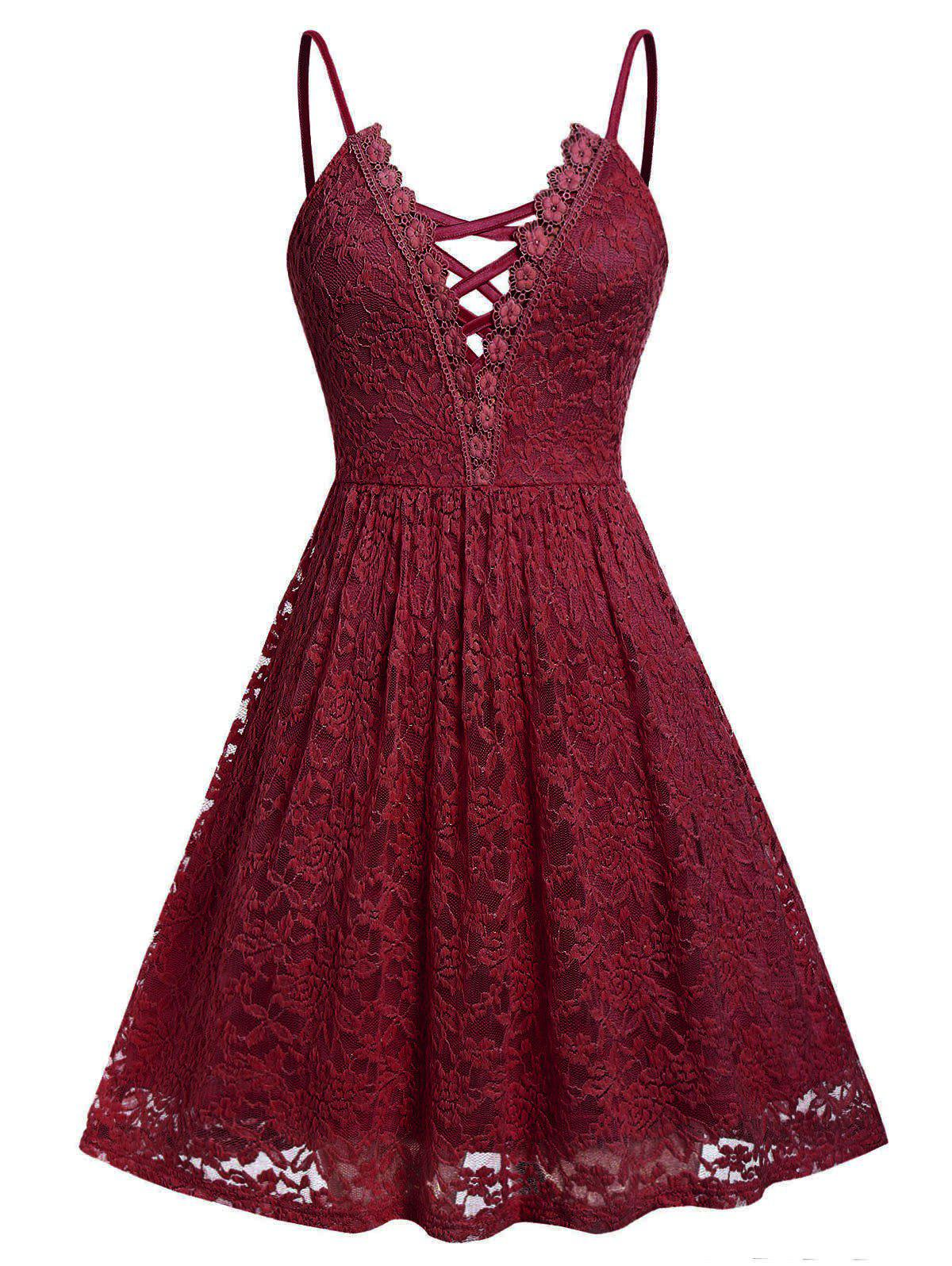 Plus Size Lace Criss Cross Cami Dress - RED WINE L