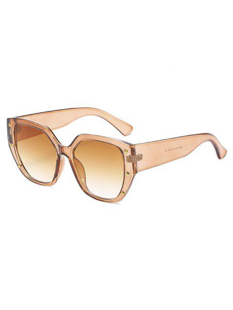 Rivet Ombre Wide Rim Square Sunglasses - MAHOGANY