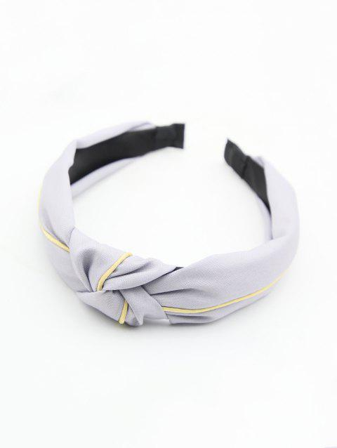 Striped Color Block Knot Fabric Hairband - GRAY