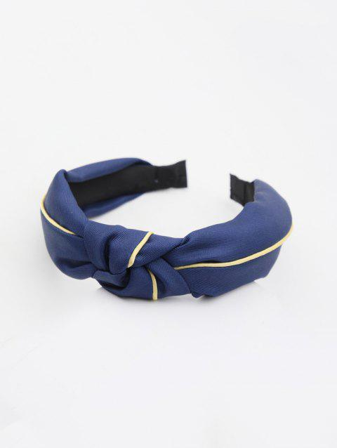 Striped Color Block Knot Fabric Hairband - BLUE
