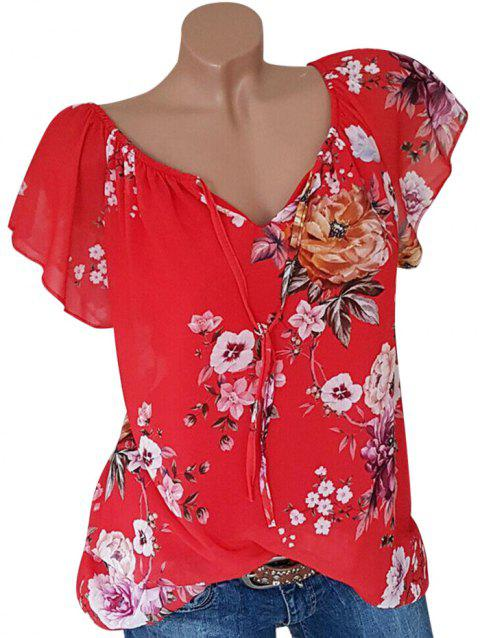 Plus Size Tie Front Floral Print Blouse - RED 5X