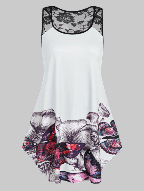 Plus Size Floral Butterfly Print Flare Tank Top - MILK WHITE 5X