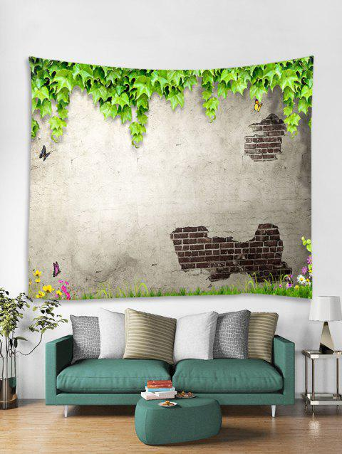 Peeled Wall Plant Leaf Butterfly Print Wall Tapestry - multicolor A W91 X L71 INCH