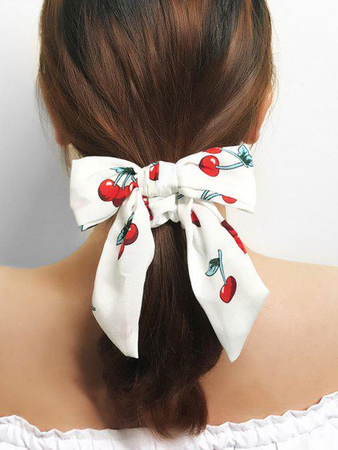 Cherry Print Bowknot Ponytail Hair Scrunchie - WHITE