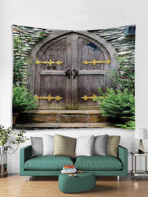 Stone Wooden Door Printed Wall Tapestry - multicolor A W91 X L71 INCH