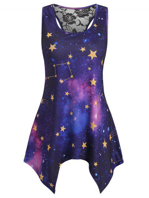 Lace Insert Racerback Sun Moon Print Tank Top - multicolor A XL