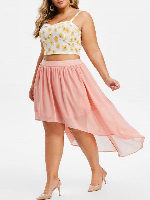 Plus Size Sunflower Print High Low Two Piece Dress - PINK 5X