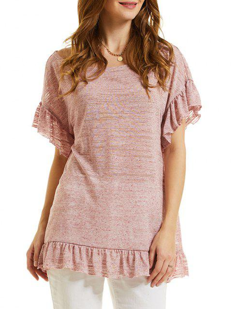 Drop Shoulder Flounce Cuffs Tunic Tee - ROSE 2XL