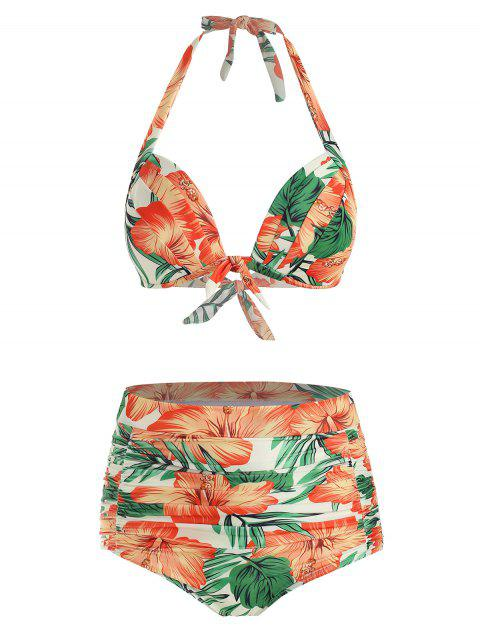 Floral Print Knotted Ruched Bikini Swimsuit - CREAM 3XL