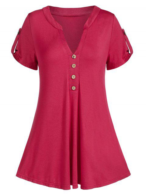 V Notch Curved Buttoned Casual Tunic Tee - RED WINE M