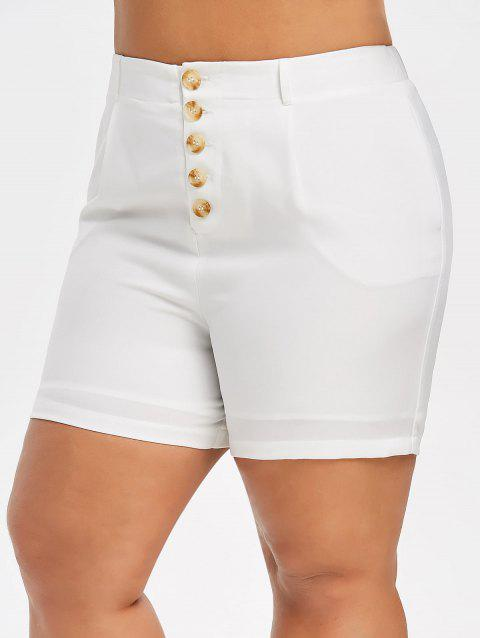 Plus Size High Waist Buttons Shorts - MILK WHITE 5X