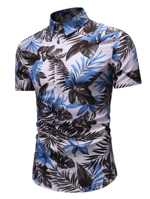Leaf Print Button Up Short Sleeve Shirt - multicolor 3XL