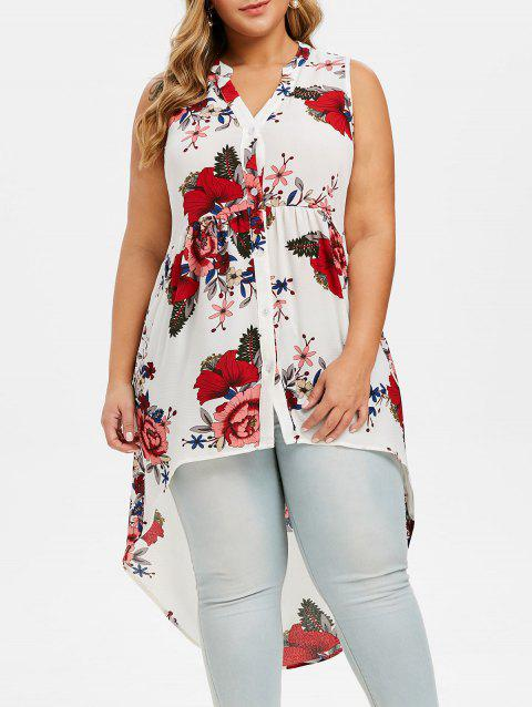 Button Up High Low Floral Plus Size Blouse - WHITE 2X