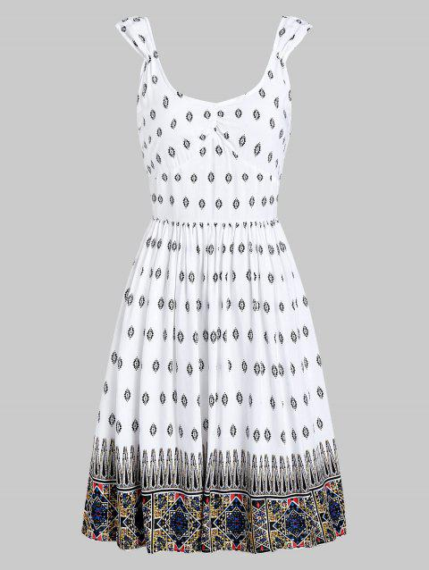 Backless Print Scoop Neck A Line Dress - WHITE 2XL