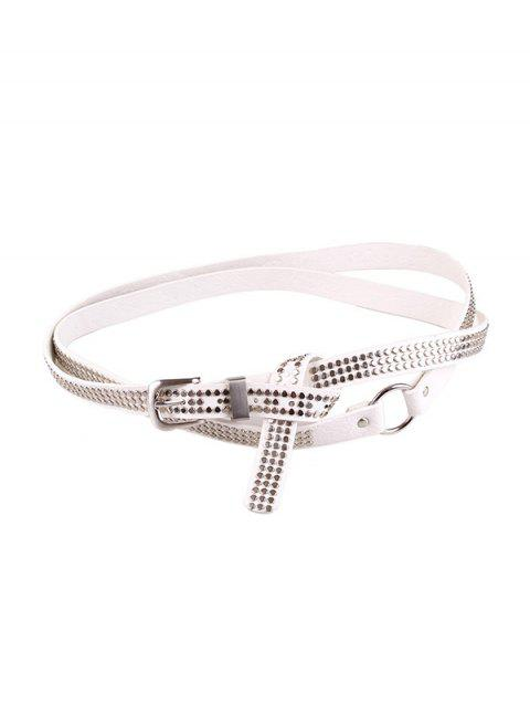 Punk Rivet Long Decorative Belt - WHITE