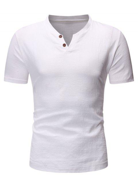 Solid Color Button Short Sleeves T-shirt - WHITE L