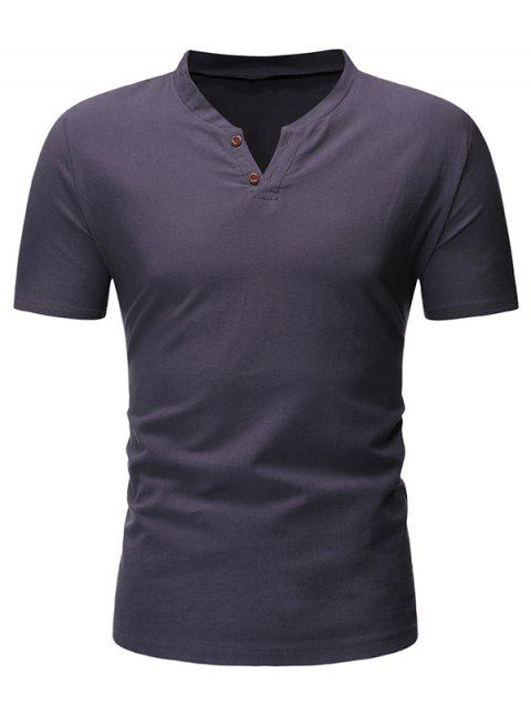Solid Color Button Short Sleeves T-shirt - DARK GRAY S