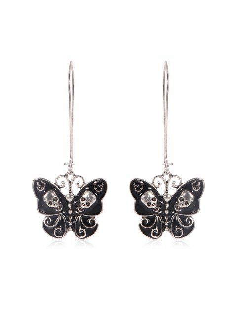 Skull Butterfly Long Drop Earrings - SILVER