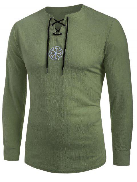 Lace-up Decoration Long Sleeves T-shirt - ARMY GREEN L
