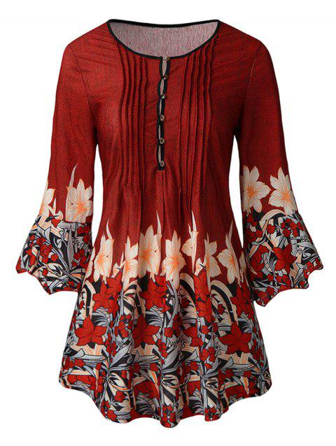 Plus Size Flare Sleeve Floral Print T-shirt - RED WINE 5X
