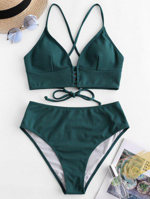 Textured Lace-up High Waisted Tankini Swimsuit - DARK GREEN XL
