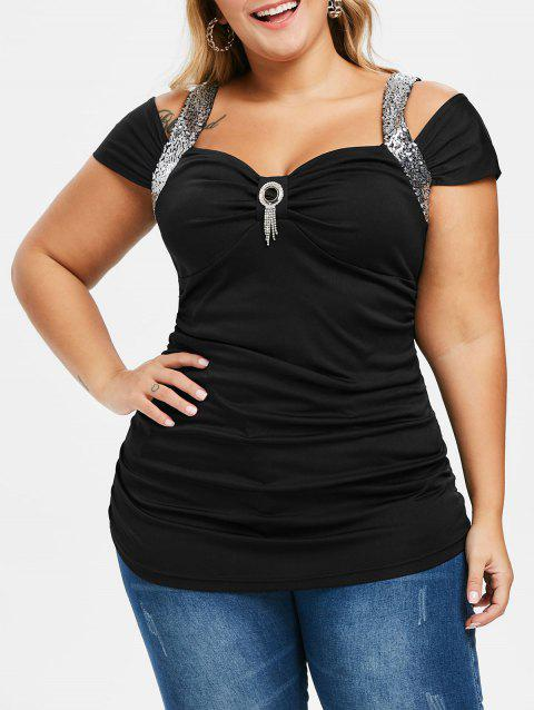 Plus Size Sequined Cold Shoulder T Shirt - BLACK 1X