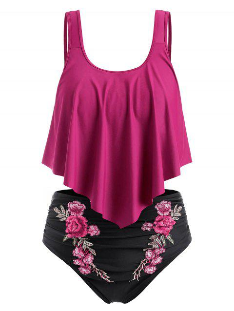 Plus Size Overlay Embroidery Bikini Swimsuit - ROSE RED 2X