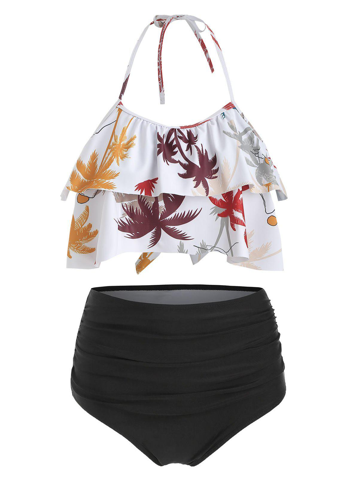 Hawaii Coconut Palm Flounce High Waisted Bikini Set - WHITE 2XL