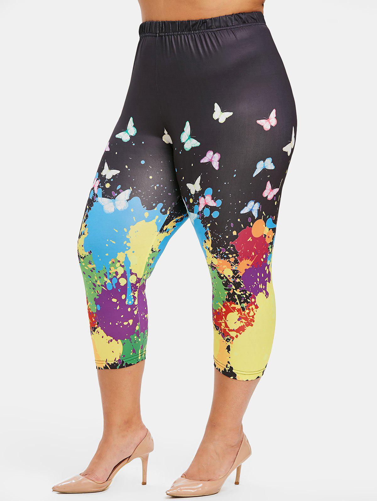 Plus Size Butterfly and Paint Splatter Print Capri Leggings - BLACK L