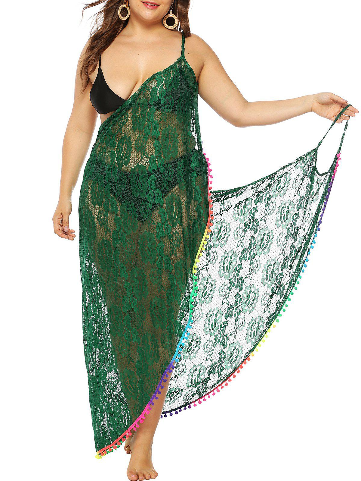Pompons Wrap Cover Lace Up Robe Taille Plus - Vert profond ONE SIZE