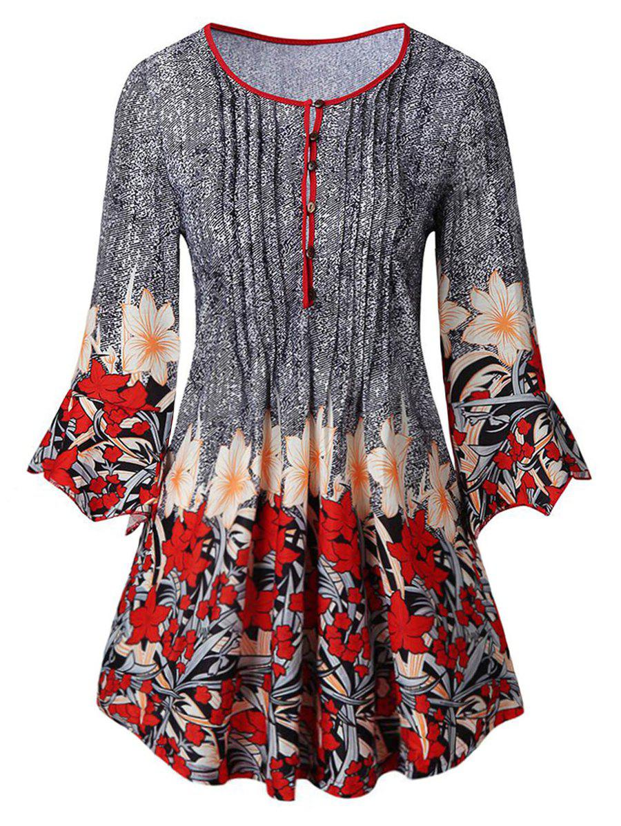 Plus Size Flare Sleeve Floral Print T-shirt - GRAY 1X