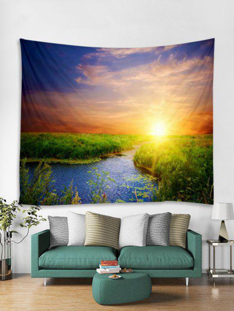 Natural Scene Sunset Pattern Tapestry - SUN YELLOW W79 X L59 INCH