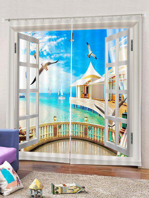 2PCS Window Seagulls Sky Window Curtains - multicolor A W28 X L39 INCH X 2PCS