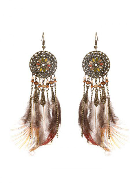 Feather Fringe Hollow Round Vintage Earrings - BRONZE