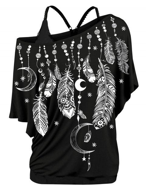 Plus Size Skew Neck Feather Print T-shirt and Cami  Top Twinset - BLACK 2X