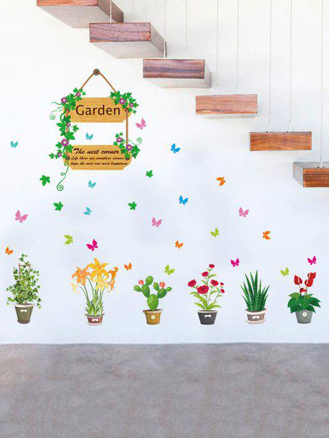 Garden Potted Cactus Flower Pattern Wall Sticker Set - multicolor A 50*70CM