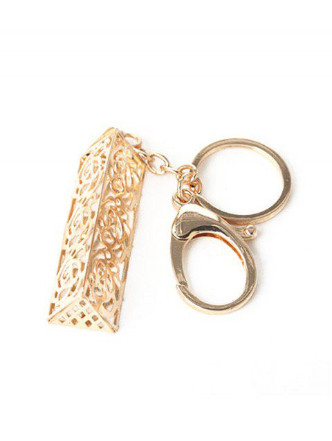 Alloy Hollow Out Engraved Flower Keychain - GOLD
