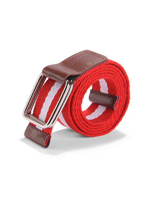 Canvas Knitted Striped Pattern Belt - ROSSO RED