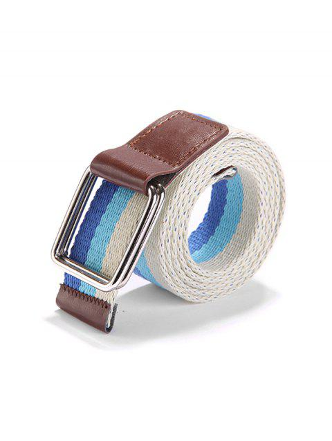 Canvas Knitted Striped Pattern Belt - CRYSTAL CREAM