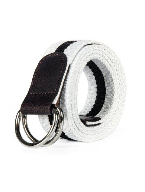 Double Ring Canvas Knitted Striped Pattern Belt - WHITE