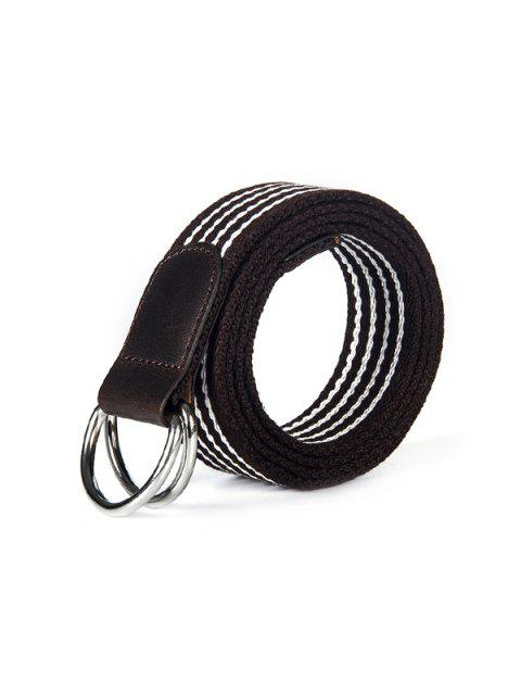 Double Ring Buckle Canvas Knitted Striped Pattern Belt - COFFEE