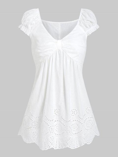 Broderie Anglaise Ruched Flare T-shirt - WHITE 2XL