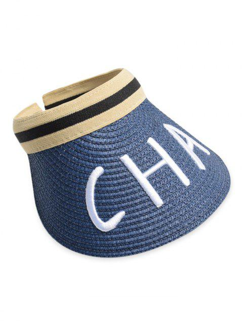 Letter Embroidery Visor Straw Hat - BLUE