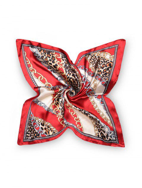 Leopard Chain Pattern Print Square Scarf - RED