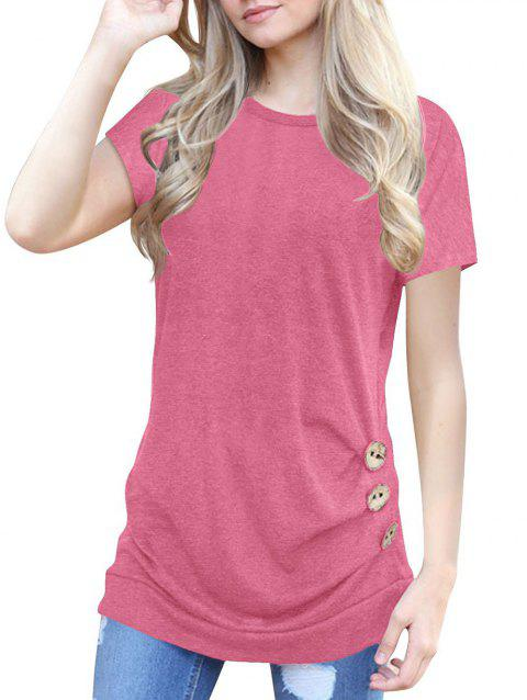 Buttons Longline Marled Tee - PINK M