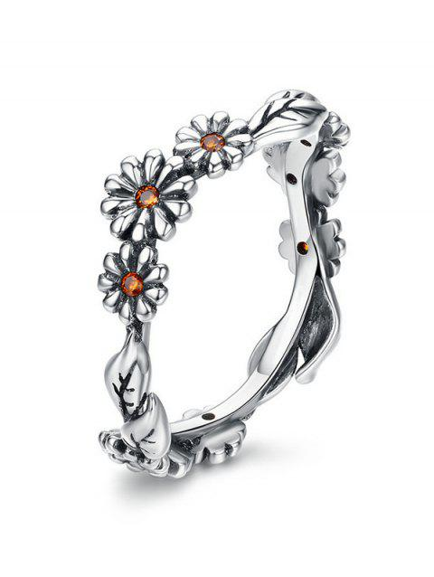 Flower Design Alloy Rhinestone Ring - SILVER 10